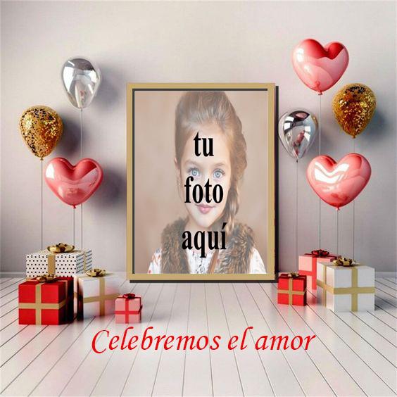 Celebremos el amor encantador marco de fotos en forma de fiesta - Celebremos el amor encantador marco de fotos en forma de fiesta
