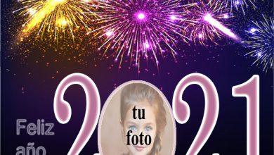 Photo of Feliz año nuevo 2021 colorido marco de fotos de fuegos artificiales