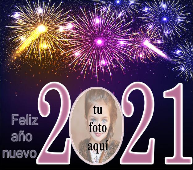 Feliz ano nuevo 2021 colorido marco de fotos de fuegos artificiales - Feliz año nuevo 2021 colorido marco de fotos de fuegos artificiales