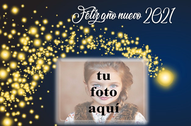 Feliz ano nuevo 2021 marco de fotos de estrellas doradas - Feliz año nuevo 2021 marco de fotos de estrellas doradas