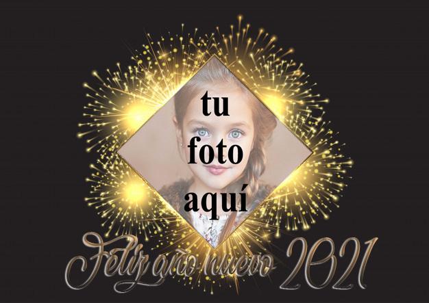 Feliz ano nuevo 2021 marco de fotos dorado - Feliz año nuevo 2021 marco de fotos dorado