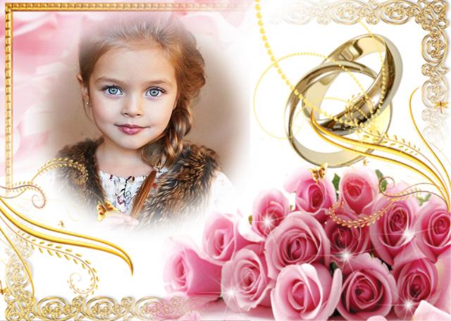 marco de fotos boda hermosas flores rosas y anillos - marco de fotos boda hermosas flores rosas y anillos