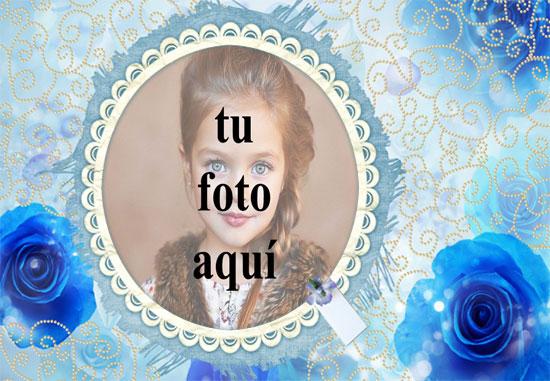 marco romantico azul con marco de fotos rosa amor azul - marco romántico azul con marco de fotos rosa amor azul